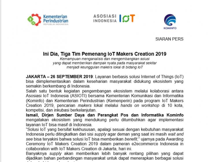 Siaran Pers – Ini Dia, Tiga Tim Pemenang IoT Makers Creation 2019